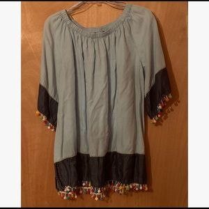 Ali Miles Chambray and Pom Pom Blouse